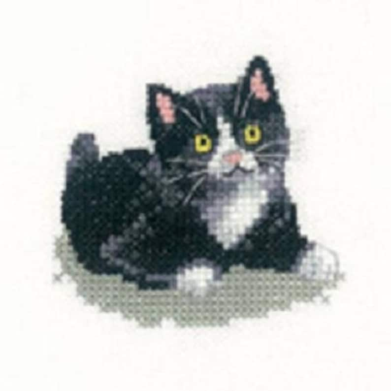 Black and White Kitten  Cross Stitch Kit from  Heritage Craft Little Friends