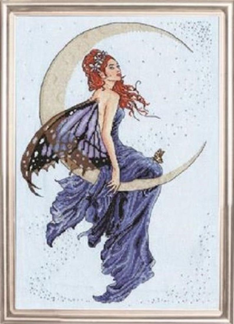 embroidery kit BLUE MOON from Design Works  Cross Stitch Kit -2909 fairy cross stitch fairy on a crescent moon needlework kit