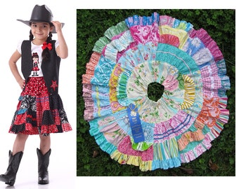 Toddler and kids Twirl Skirt Pattern, Twirly Patchwork Skirt, PDF Sewing Pattern by Scientific Seamstress