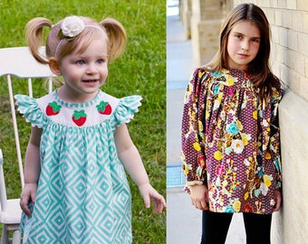 Bishop Style BeBop Tops and Dresses for Baby, toddler, kid, and tween - PDF sewing pattern by the Scientific Seamstress