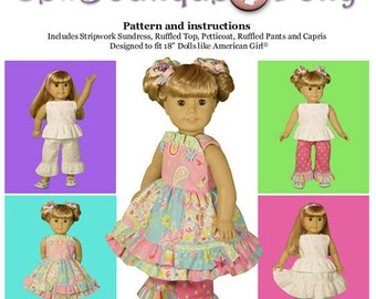 """Girl Doll PDF Sewing Pattern - Easy with Mix and Match Options for 18"""" dolls - by Scientific Seamstress"""