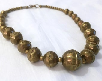 Hammered Brass Graduated Hollow Bead Necklace Vintage India Jewelry