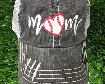eab806431bf Baseball Mom Heart Distressed Trucker Hat