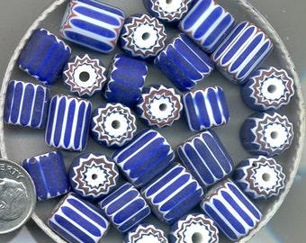 Moretti Venetian Royal Blue Chevron Bead & Pendant, Green Chevron Bead, OT57.B1678.B2099*