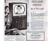 1950 RCA Victor Vintage Ad, RCA Victor TV, 1950 39 s Television, Advertising Art, 1950 39 s Decor, Retro Television, Great for Framing.