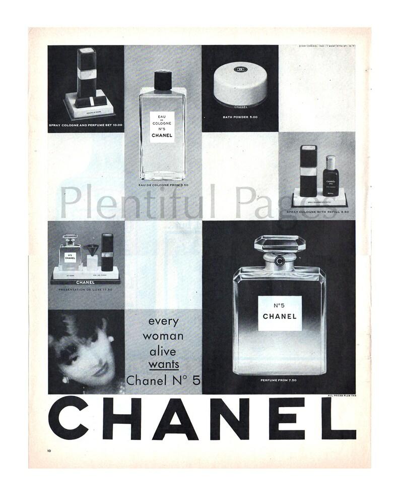 716859693 1961 Chanel No 5 Vintage Ad publicidad arte belleza de los | Etsy