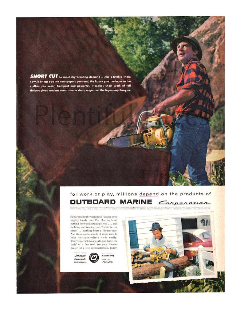 1957 Outboard Marine Vintage Ad, Portable Chainsaw, 1950's Outdoors, 1950's  Lumberjack, Advertising Art, Pioneer Saw, Great for Framing