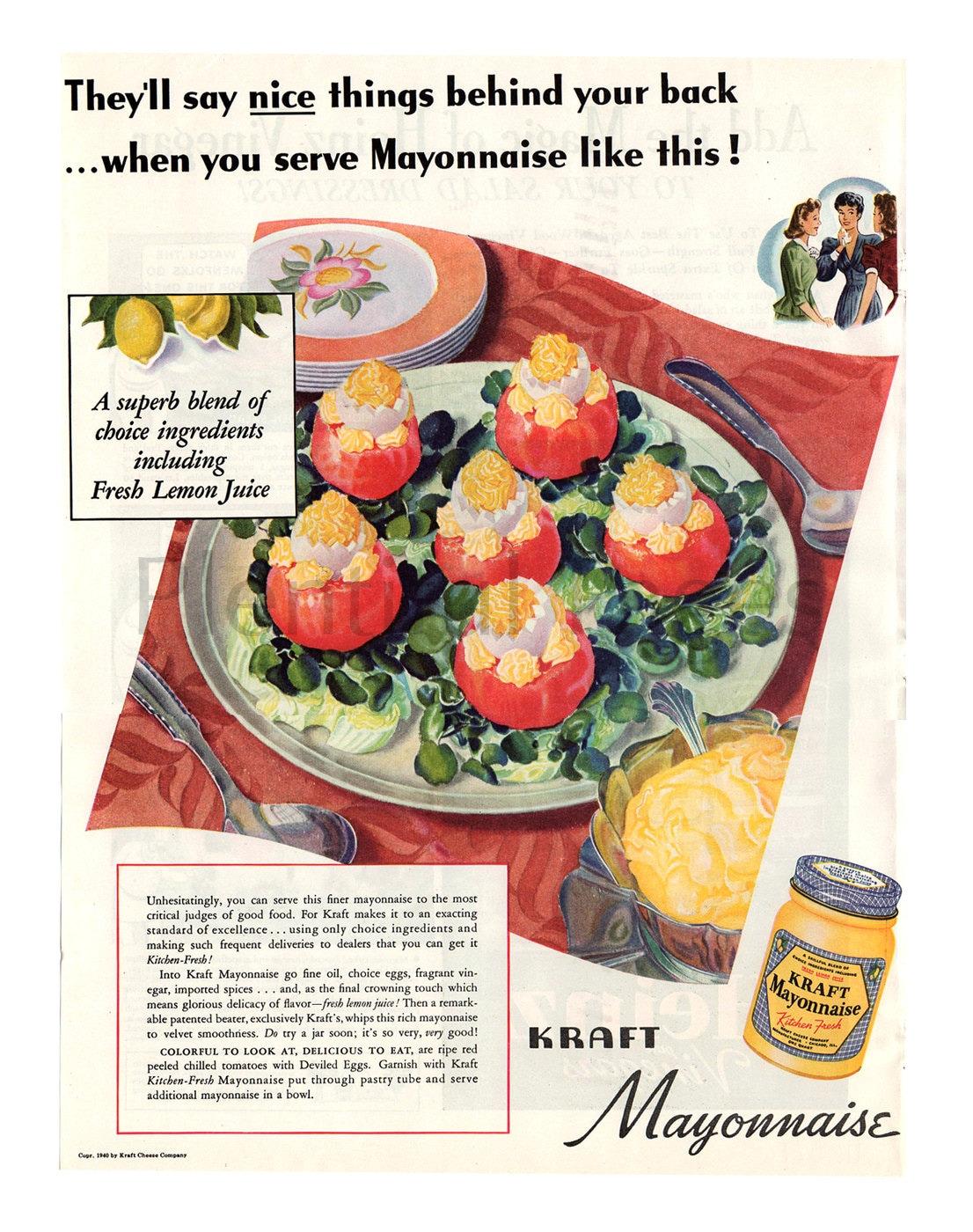 1940 Kraft Mayonnaise Vintage Ad 1940\'s Lunch Vintage   Etsy