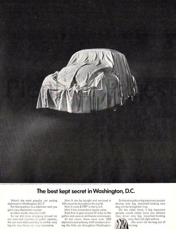 1968 Volkswagon Bug Vintage Ad, Magazine Ad, Advertising Art, 1968 VW,  Retro Car Ad, Volkswagon, Great for Framing or Collage