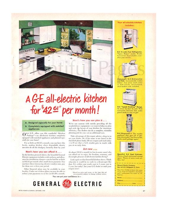 1950 General Electric Kitchen Vintage Ad, 1950\'s Kitchen, Retro Decor,  Advertising Art, Retro Kitchen, 1950\'s Appliances, Great to Frame.