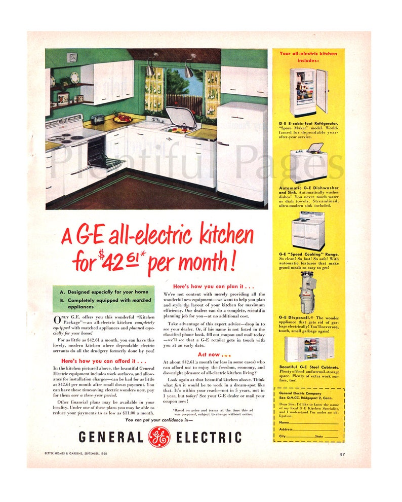 1950 General Electric Kitchen Vintage Ad, 1950's Kitchen, Retro Decor,  Advertising Art, Retro Kitchen, 1950's Appliances, Great to Frame