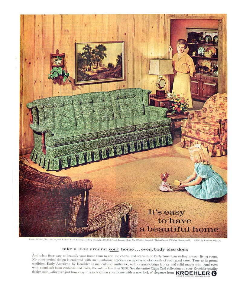 1962 Kroehler Furniture Vintage Ad 1960 S Living Room Etsy