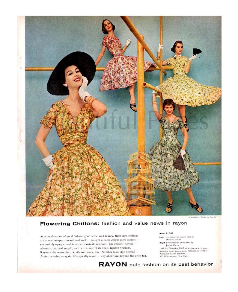 05397e40c 1955 rayón Vintage Ad moda 1950 moda Retro Floración | Etsy