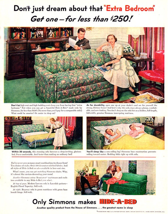 Miraculous 1951 Simmons Hide A Bed Vintage Ad 1950S Decor Advertising Art 1950S Couple 1950S Couch Retro Hide A Bed Great For Framing Creativecarmelina Interior Chair Design Creativecarmelinacom