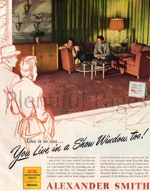 Vintage 1940s Alexander Smith Floor-Plan Rugs Ad