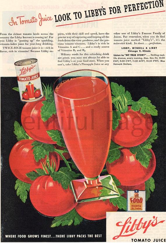 1944 Libby's Tomato Juice Vintage Ad, Retro Ad, 1940's Beverage Ad, Retro  Beverage Ad, Tomatos, Color Illustration, Advertising Art