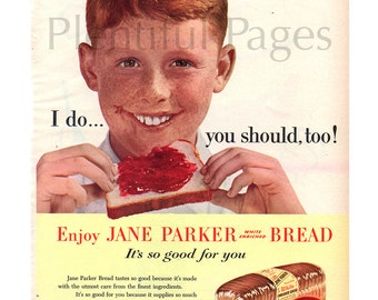1956 A&P Jane Parker Bread Vintage Ad, 1950's Boy, Jelly Sandwich, 1950's Fashion, Retro Lunch, Advertising Art, Great for Framing, Retro Ad