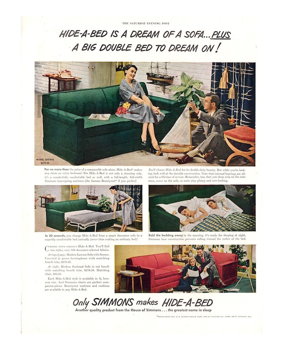 Groovy 1950 Simmons Hide A Bed Vintage Ad 1950S Decor Advertising Art Magazine Ad 1950S Couch Great For Framing Creativecarmelina Interior Chair Design Creativecarmelinacom