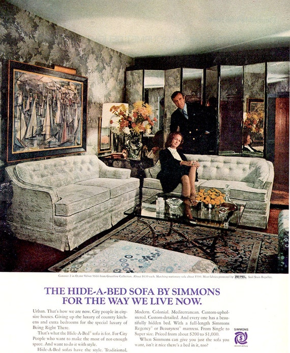 Excellent 1970 Simmons Hide A Bed Sofa Vintage Ad 1970S Living Room Advertising Art Couch 1970S Decor Magazine Ad Great For Framing Creativecarmelina Interior Chair Design Creativecarmelinacom