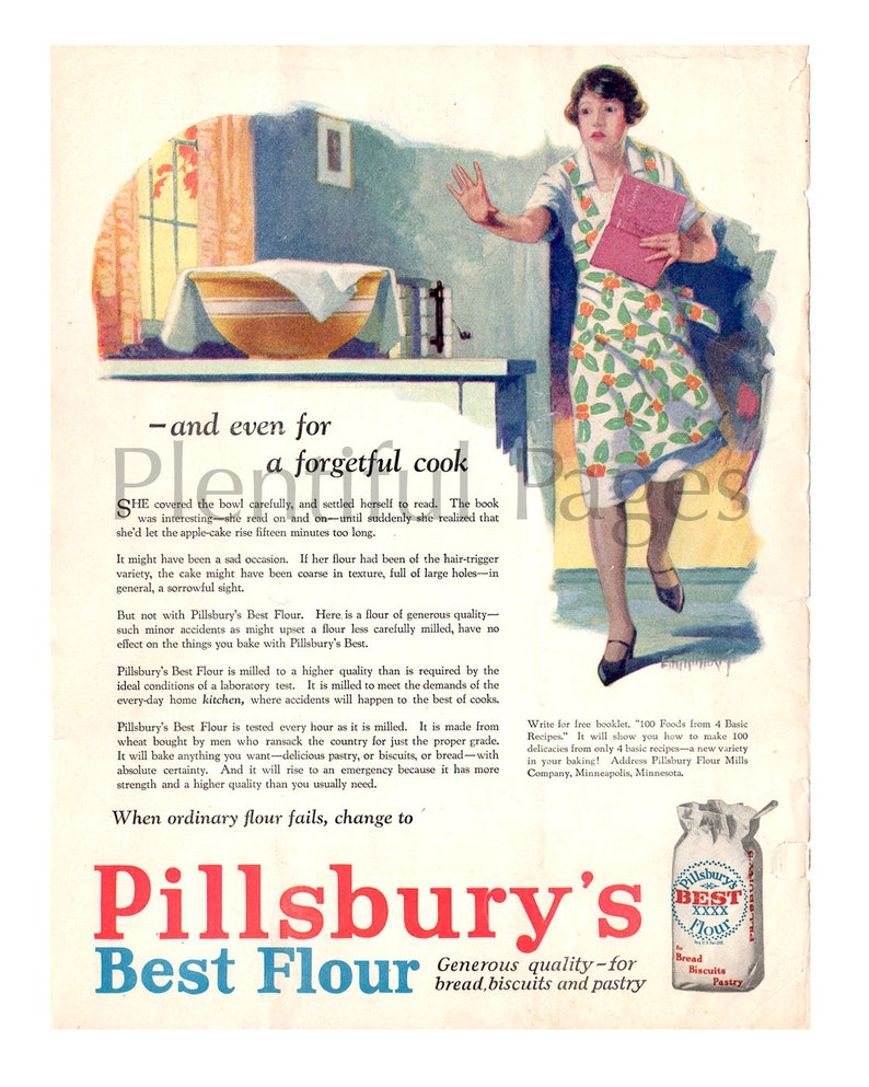 1928 Pillsbury's Best Flour Vintage Ad, 1920's Housewife, Baking Flour,  Advertising Art, Magazine Ad, Advertisement, Great for Framing