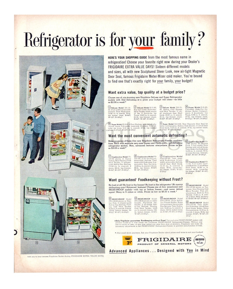 1960 Frigidaire Refrigerators Vintage Ad, Advertising Art, Magazine Ad,  1960's Refrigerator, Advertisement, Great to Frame