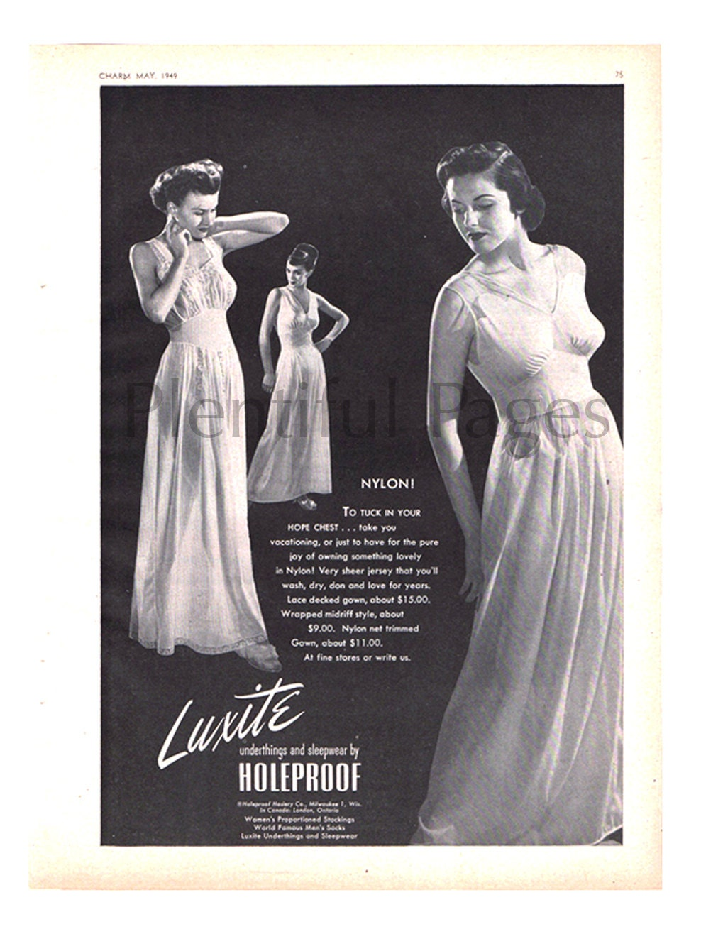 1949 Luxite Vintage Ad, 1940's Fashion, Retro Nightgowns, Nylon,  Advertising Art, 1940's Lingerie, 1940's Sleepwear, Great to Frame
