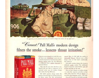 1941 Pall Mall Cigarettes Vintage Ad, Advertising Art, WWII Ad, Illustrator John Falter, 1940's Soldiers, Retro Cigarette Ad, Great to Frame