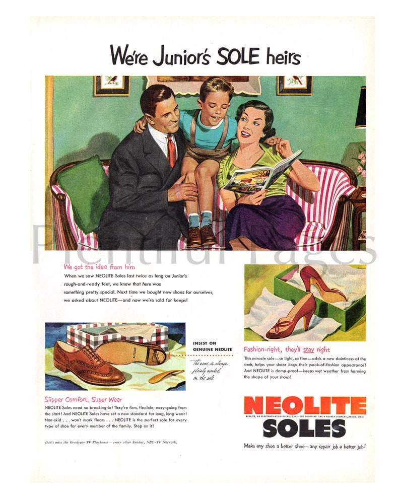 Magazine Ad Advertising Art Great to Frame. Kids/' Shoes 1952 Neolite Soles Shoes Vintage Ad