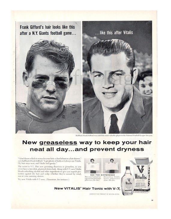 1957 Vitalis Hair Tonic Vintage Ad Frank Gifford NFL MVP | Etsy