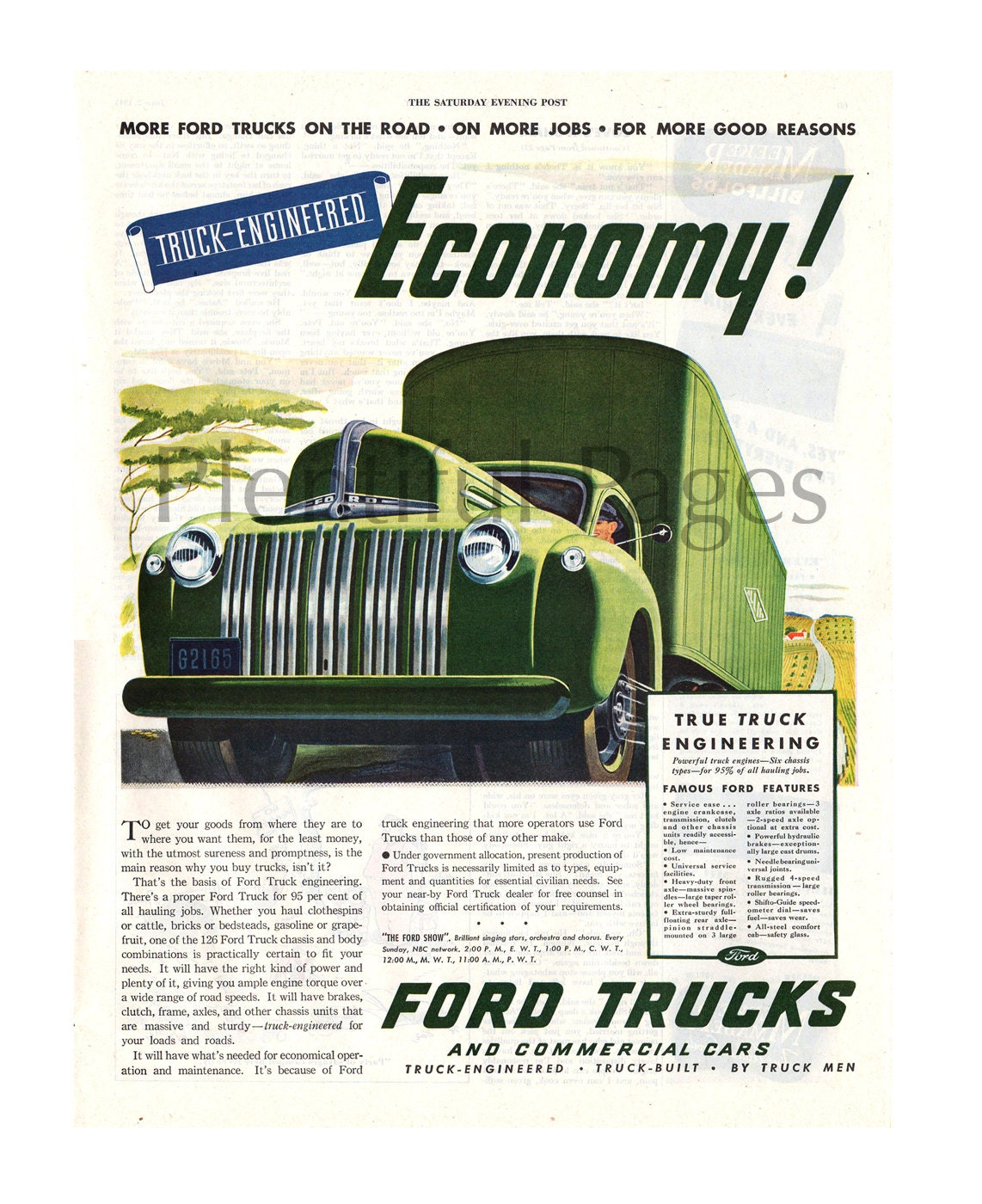 1945 Ford Trucks Vintage Ad, 1940's Ford, 1940's Trucks, Advertising Art,  Vintage Illustration, Retro Truck Ad, Great for Framing or Collage