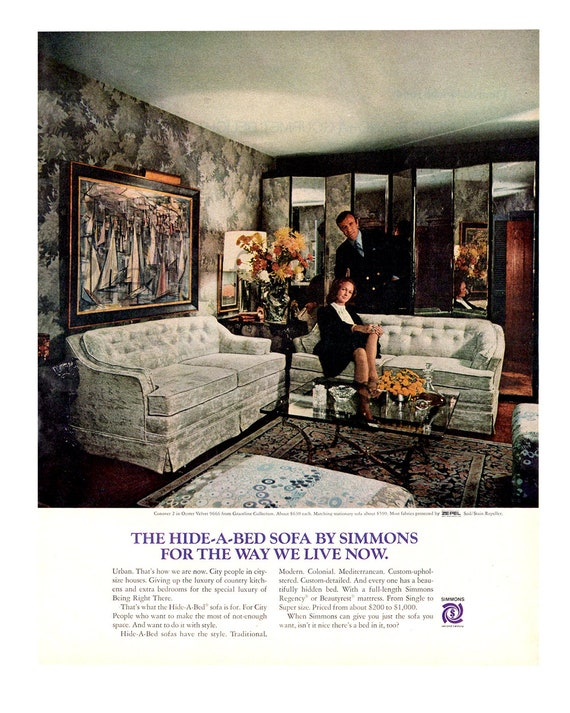 Tremendous 1970 Simmons Hide A Bed Sofa Vintage Ad 1970S Living Room Advertising Art Couch 1970S Decor Magazine Ad Great For Framing Creativecarmelina Interior Chair Design Creativecarmelinacom