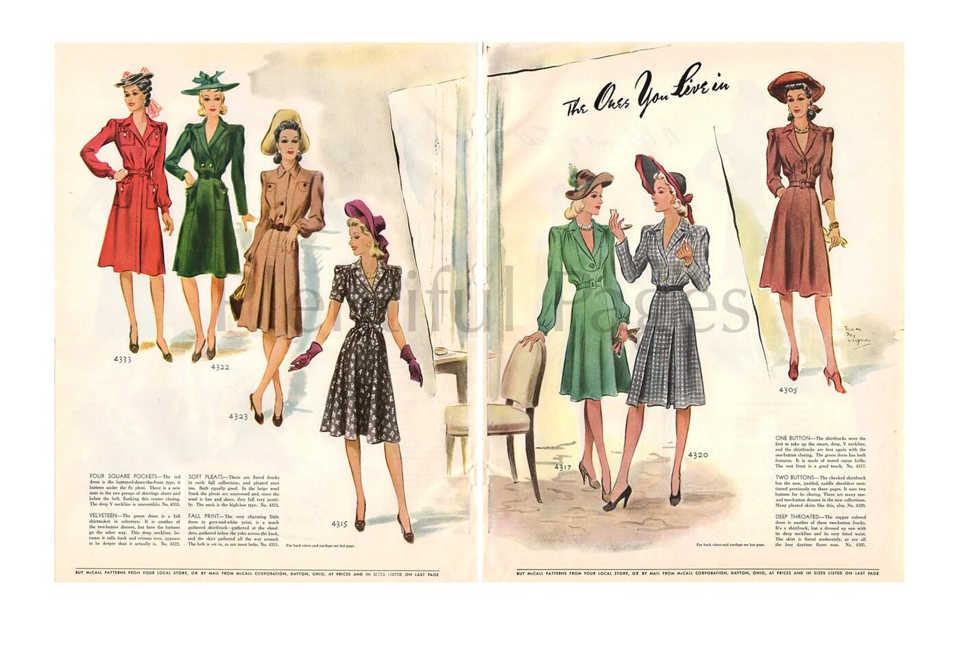1941 coser patrones Vintage Ad de McCall moda de la década de | Etsy