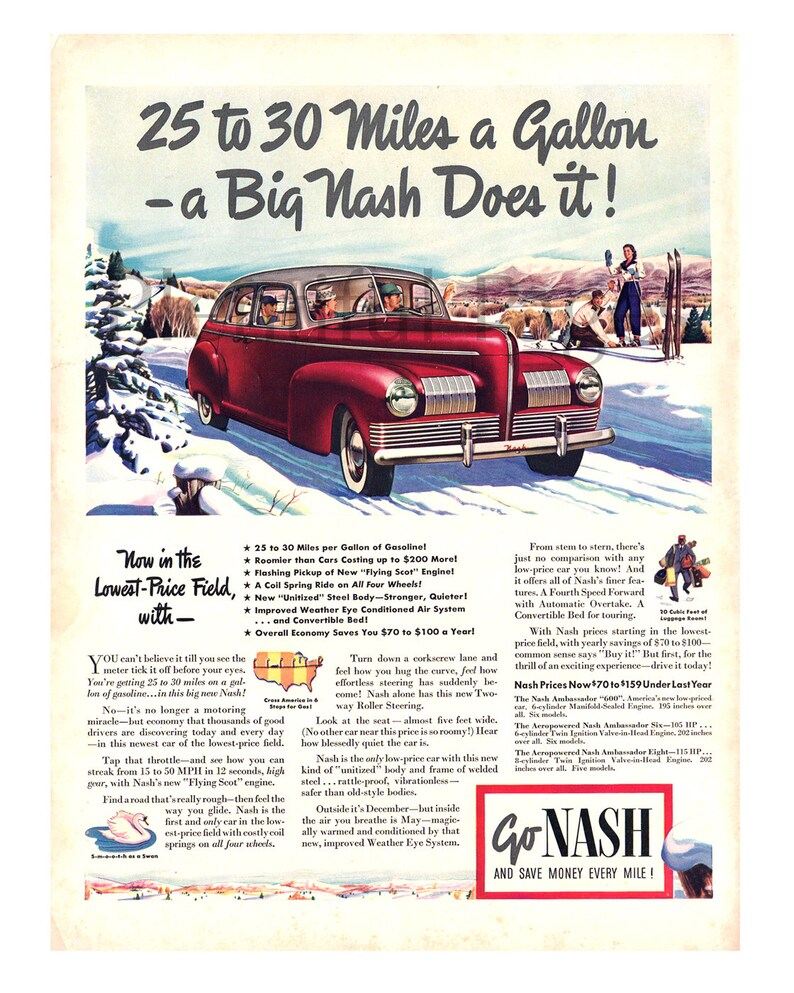 best cheap 0c3b0 26def 1940 Nash Vintage Ad Advertising Art Flying Scot   Etsy