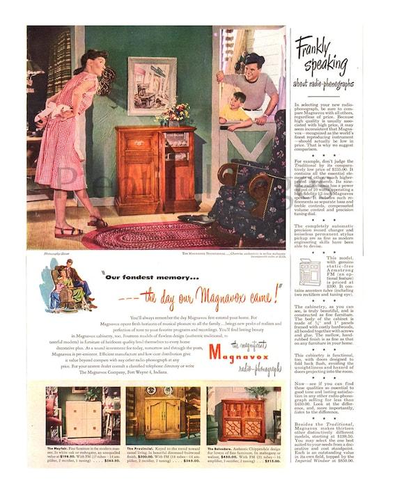1947 Magnavox Vintage Ad, Radio-Phonographs, 1940's Decor, 1940's Family,  1940's Fashion, Vintage Record Player, Vintage Radio