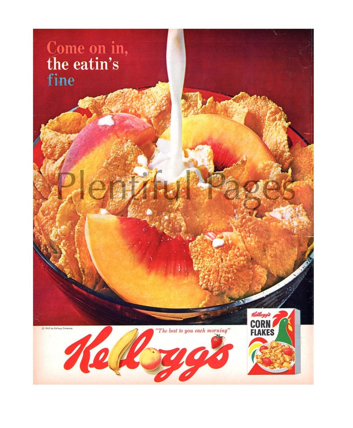 1965 Kellogg's Corn Flakes Vintage Ad, 1960's Breakfast, Cereal, Retro Ad,  Peaches, Breakfast, Great for Framing or Collage