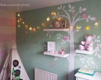 Shelving Tree With Birds Squirrels Birdhouse Wall Decal Sticker Children Baby Kids Nursery Decals