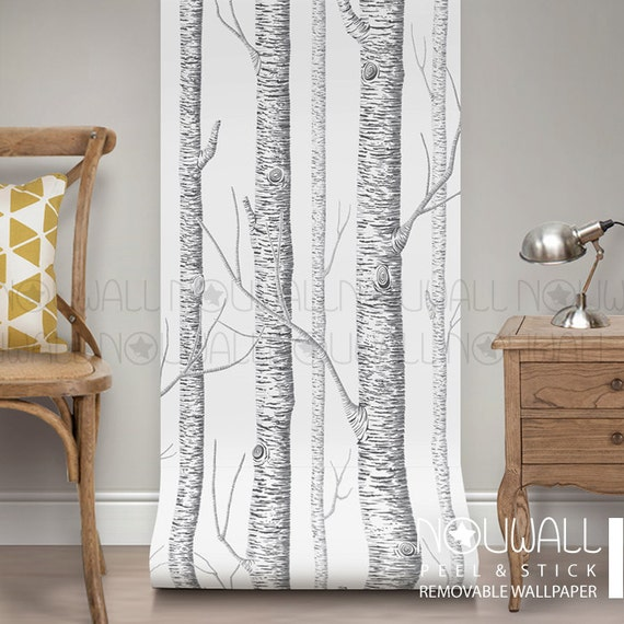 Birch Tree Peel Stick Removable Wallpaper Wall Decal Etsy