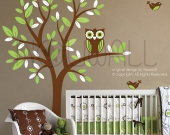Tree Wall Decals Wall Stickers Tree Decal -  Owl on Tree - 089 -children wall decal