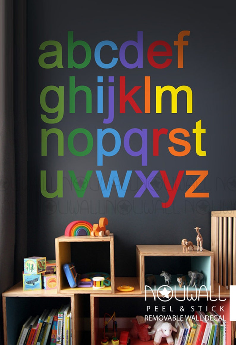 Removable Rainbow Alphabets Modern and Minimalist Wall Decal Wall Sticker wallpaper- suitable for baby kids room nursery Bold