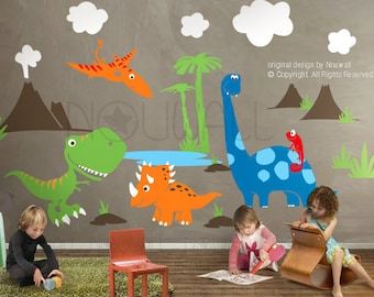 Dinosaurs Wall Decal,pterodactyl, triceratops T-rex Wall Decal Wall Sticker Art Graphic , home decor - 078