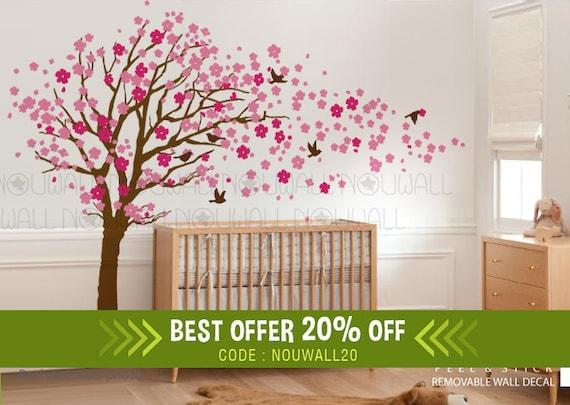 Behang Stickers Kinderkamer.Verwisselbare Roze Kersenbloesem Boom Muur Decal Kinderen Muur Etsy