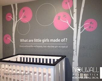 Removable Pink Circle Tree Wall Decal , Baby, Nursery Wall Decals Wall Sticker Vinyl, wall décor
