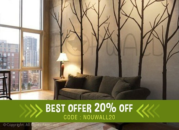 Art Wall Decals Wall Stickers Winter Trees Decal Modern Wall Decal For Home And Nursery Furniture 036