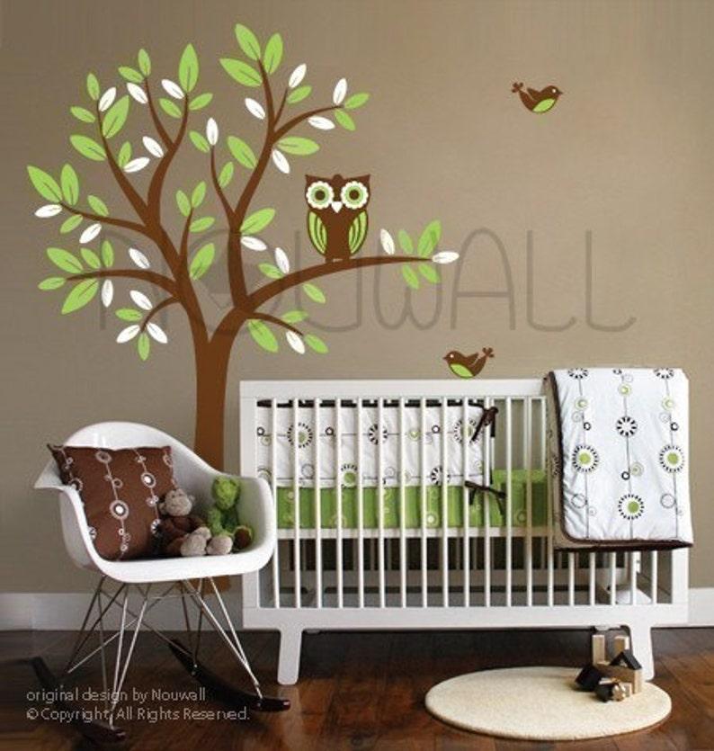 Owl on Tree Wall Decal Baby 089 - Nursery children wall decal home decor wall decor Wall Stickers