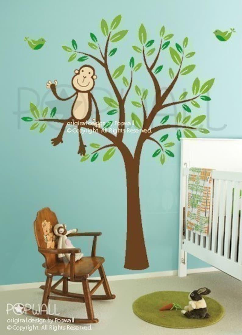Monkey Sitting on a Tree decal 087 Vinyl Kid Sticker Wall Decal for Girl Boy Nursery