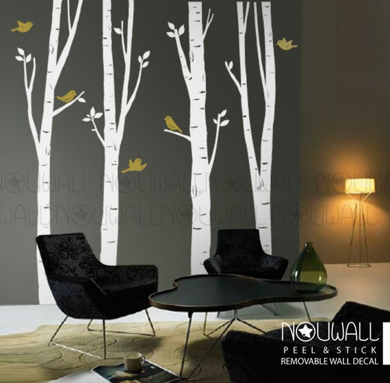 birch tree wall decal bird wall decal office wall decal | etsy