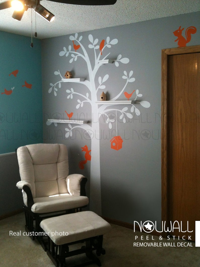 Shelving Tree with Birds & Squirrels birdhouse Wall Decal ...