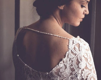 SALE Gabby Stunning Lace WEDDING TOP with Deep Round Back Neckline and Pearl Strap