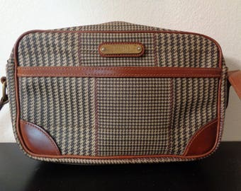 Vintage Polo Ralph Lauren Black and Brown Glen Plaid Coated Material and Brown Leather Trim Shoulder Purse