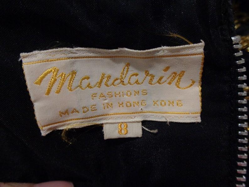 1960s Mandarin Fashions Black Satin Gold Beaded Zip Back CocktailEveningParty Top Sz 8
